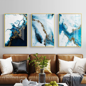 Wholesale Nordic Abstract color spalsh blue golden canvas painting poster and print unique decor wall art pictures for living room bedroom