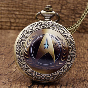Wholesale-High Quality Vintage Golden Star Trek Pocket Watch Steampunk Fon Pendant Wmen Men Necklace Gift