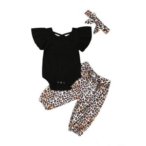 Wholesale Summer baby girl kids clothes Black short sleeved top Panther print trousers bows Headband piece set Kids Clothes Girls