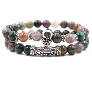 Wholesale 2pc set mm Natural Stone Bracelet Purple Stripe Skull Owl Lion Dragon Luxury Designer Jewelry Women Bracelects Men Buddha Beads Bracelet