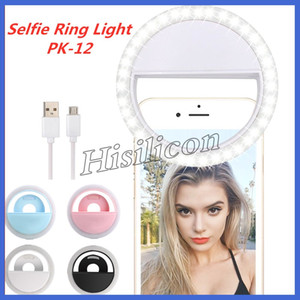 Fasion Selfie LED Ring Light PK-12 Light Flash Lamp Camera Photography With USB Charging for IPhone Samsung HUAWEI +Retail Box