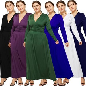 Wholesale 2019 New Boutique Foreign Trade Large Size Women s Sexy Long Sleeve Deep V Fat Women s Dresses