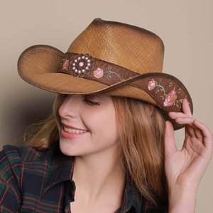 Wholesale Fashion Women Straw Beach Sun Hat With Roll Up Cowboy Sombrero Caps With Handmade Embroidery Hats