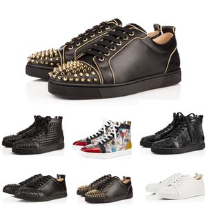 Wholesale Designer Mens Womens Studded Spikes Flats shoes Red Bottoms Black White Top Party Lovers Genuine Leather Sneakers size