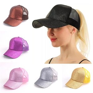 14 Colors Trucker Pony Glitter Ponytail Ball Caps Plain Baseball Visor Cap Glitter Ponytail Hats Snapbacks DHL