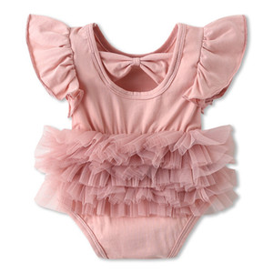Wholesale Design Stylish INS Infant Toddler Girls O neck Romper Dresses Summer Flying Sleeveless Pink Red back Hollow Out Newborn Jumpsuits T