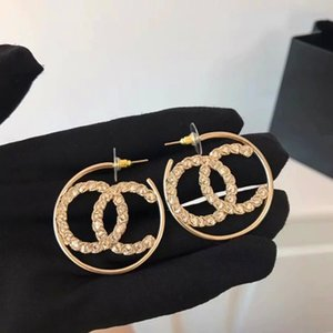 Wholesale Top brass hoop Earring luxury quality K Gold plated hook shape with white diamond and hollow logo drop Earrings Women Brand jewelry gif