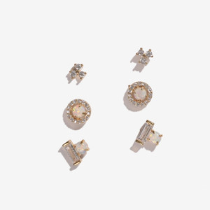Wholesale simple mini stud earring multi piercing cz opal stone cute sweet girl women fashion delicate studs second stud earrings