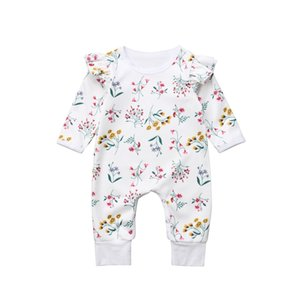 2018 New Arrival Newborn Baby Girls Floral Long Sleeve O-neck Romper Cotton Casual White Bodysuit Playsuit Clothes Outfit 0-24M on Sale