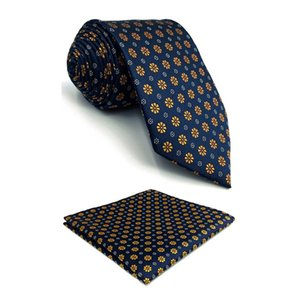 Wholesale F18 Blue Gold Floral Necktie Set Business Ties for Men Slim cm Tie