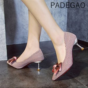 Wholesale 2019 Butterfly knot Sliver Heels Sexy Patry Fashion Women Shoes Pionted Toe Thin High Heel Shoes