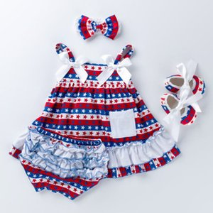 Infant Jumpsuit Clothing Sets Four Piece Suit Striped Shorts American Flag Independence National Day Star Printed Shoes Striped Bow Headband on Sale