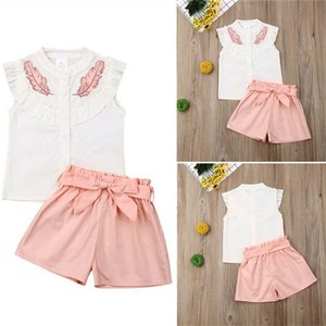 Wholesale childs clothes resale online - 2020 Cute Girls Leaf Print Tracksuit Childs Sleeveless Lotus Leaf Collar T shirts shorts with Bow Belt Outfits Pieces Clothing Sets E3301
