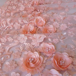 Peach Ivory Mauve Luxury Tissu 3D Flower Embroidered Tulle Mesh Lace Fabric With Pearl Beaded Wedding Curtains Fabric