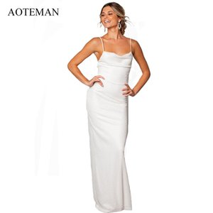 Wholesale AOTEMAN Summer Dress Women Sexy Bodycon V Neck Bandge Backless Lace Party Dresses Elegant White Wedding Maxi Dress Vestidos