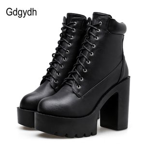 Wholesale Gdgydh Lacing Motorcycle Boots Women Leather Platform Female Boots Punk Round Toe Ladies Party Shoes Rubber Sole New Spring