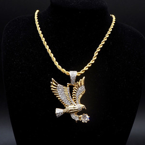 Wholesale gold eagle jewelry for sale - Group buy Men Iced Out Gold Color Personality Necklace Animal Eagle Charm Pendant Necklace Micro Pave Zircon Hip Hop Jewelry