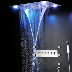 LED Shower Set Spa Functions Luxurious Bath System Large Waterfall Dual Rain Misty Concealed Ceiling Showerhead Massage Thermostatic shower