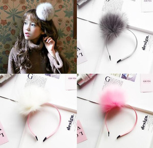 Wholesale Autumn and Winter New Korean Edition Rabbit Hair Ball Lovely Children Hair Hoop Hair Ornament Pure Colour Headband Ornament WL156