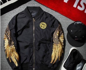 2017 new Angel Wing Embroidery Bomber baseball Jacket Military Airforce Men Bomber Carrier Long Sleeve Bomber Jacket Pilot Jacket