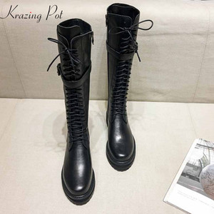 Wholesale krazing pot genuine leather lace up med heels round toe punk superstar equestrian boots buckle fasteners over the knee boots l35