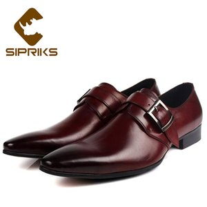 Wholesale Sipriks Single Monk Strap Shoes For Men Fashion Black Social Shoes Genuine Leather Red Brown Dress Male Party Wedding