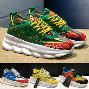 Wholesale Fashion Casual Shoes Luxury Designer Men Women Platform Sneakers Chain Reaction Multi Color Rubber Suede Floral Flat Leather