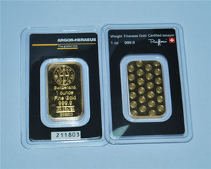 1oz Switzerland Argor-Heraeus Gold Bar 24k Gold-Plated High Quality Non-Magnetic Independent Serial Number Business Gift Collection