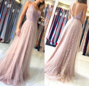 Light Purple Spaghetti Evening Dresses Tulle A Line Girls Pageant Gowns Floor Length Open Back Formal Women Dresses on Sale