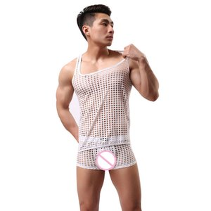 Wholesale transparent pajamas for sale - Group buy Sexy Costumes Mens Hollow Fishnet Vest Lingerie Breathable Mesh Underwear Set Sexy Transparent Sleepwear Male Pajamas Suit