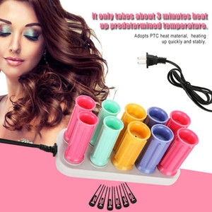 Wholesale set hair curls roller for sale - Group buy Electric Heated Roller Curling Roll Hair Curlers Set Hair Sticks Tube Dry Wet Curly