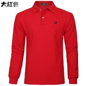 Wholesale lHot sale New Fashion Men Clothes Solid Color Long Sleeve Slim Fit Polo T Shirt Men Cotton T Shirt Casual Tops Tees