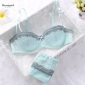 Girls Women Summer Sweet Embroidery Lace Modal Half Cup Bowknot Sexy Push Up Underwear And Panty Bra Set