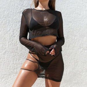 Sexy Women Sheer Mesh Bikini Cover Up Set Solid Long Sleeve Crop Tops Strap Hollow High Waist Mini Skirt Swimsuit Lady Beachwear