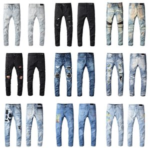Wholesale 2020 New Arrival Top Quality Brand Designer AMR Men Denim Slim Jeans Embroidery Pants Fashion Holes Trousers US Size