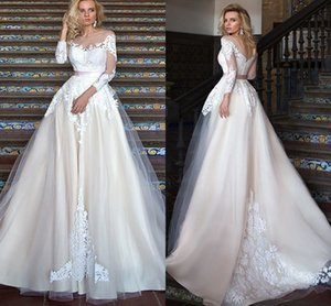 Wholesale Glamorous Long Sleeves A Line Wedding Dresses White Lace Appliqued Boho Bridal Gown Sheer Crew Neck Backless Belted Vestidos AL3206
