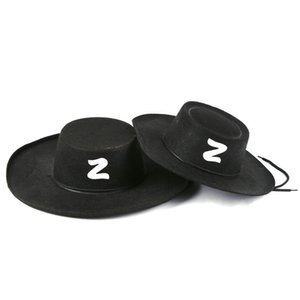 Wholesale Zorro Hat Halloween Cosplay Cap Adult Child Birthday Decorate Headgear Summer Anti Sunburn Big Hats Brim Black kx C1