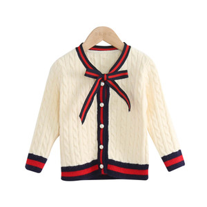 Wholesale Cute Girl Clothes Fashion bowknot Girls Cardigan kids designer clothes girls Sweaters kids clothes Children Sweaters kids clothing A2710