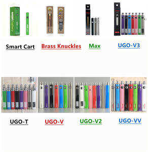 Wholesale 510 Thread Battery Ego Evod Variable Voltage Preheat Vape Pen UGO Max Brass Knuckles Battery Smart Cart Battery Electronic Cigarettes