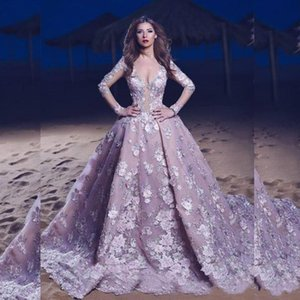 2020 Lavender Backless Arabic Evening Gowns Deep Plunging Neck Long Sleeves Prom Dress Lace Applique Sheer Bodice on Sale