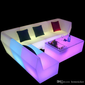 Wholesale bars tables resale online - LED light sofa coffee table combination bar club KTV room card seat table and chair creative personality furniture counter chair AL026