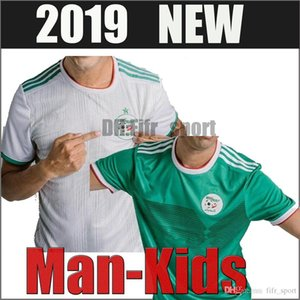 Wholesale 2019 Algeria Man Kids kit home white Soccer Jersey Algeria MAHREZ Child Soccer Shirt BELHAJ Boy National Team Football uniform