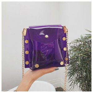 Wholesale New Women Bag Girl Tote PVC Transparent Messenger Shoulder Crossbody Bag For Lady Lovely Fashion Beach Handbag Evening Purse