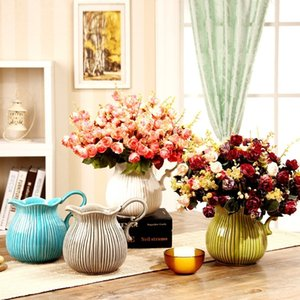 Wholesale Modern Simple Crack Glazed Ceramic Vase New Fashion Creative Pottery Table Vase Home Decoration