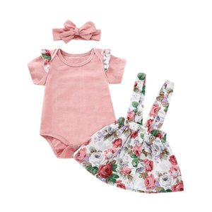 Wholesale Canis Newborn Baby Girl Summer Pink Tops Romper Print Floral Skirt Outfits Set Clothes M