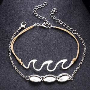 Wholesale shell feet for sale - Group buy Shell Wave Anklets Foot Chain Multilayer Silver Shell Anklet Bracelet Beach Anklet Deisgner Beach Jewelry for Women Will and Sandy