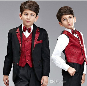 Popular Black Boys Formal OccasionTuxedos Notch Lapel Two Button Kids Wedding Tuxedos Child Suit Holiday clothes(Jacket+Pants+Tie+Vest) 44 on Sale