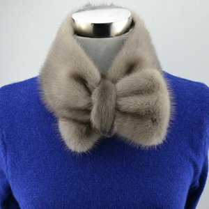 Wholesale Real mink fur Bow tie women collar ladies neck ring fashion new design solid white black color scarf T11