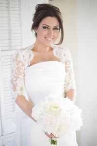 2021 Modest Half Sleeves Lace Wedding Bridal Jackets Bolero Applique Tulle Cheap Wedding Wrap For Wedding Dress Gowns Plus size