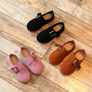 Wholesale kids shoes New Children s Leather colorful with buckle for baby girls Dancing flats with Bowknot for Princess Shoes